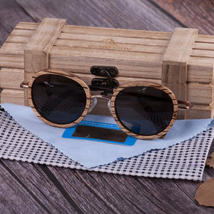 BOBO BIRD Natural Wooden Metal Round Frame Sunglasses Men's and Women's Outdoor Sports Travel Summer Beach Sunglasses