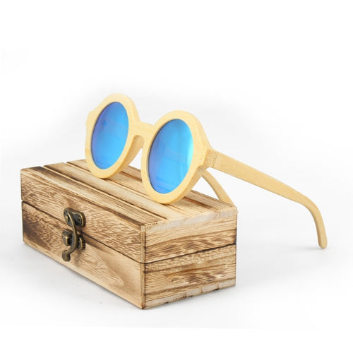 Round Frame Wooden Sunglasses Men Women Retro Handmade Bamboo Wood Sun Glasses With Wooden Box