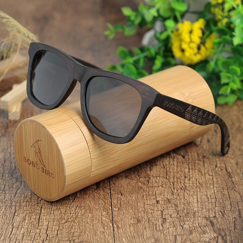 BOBO BIRD C-DG08a Handmade Ebony Wooden Sunglasses With Grey Polarized Lens And Laser Pattern Wooden Frame Sun Glasses As Best G