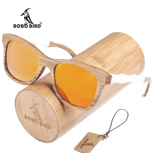 BOBO BIRD Nature Wooden Sunglasses With Creative Design Wooden White Wave Sunglasses Legs Polarized Beach Glasses