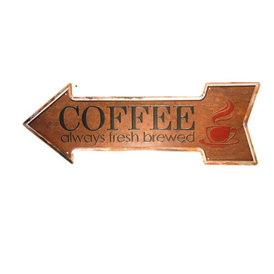 Fresh Brewed Coffee Arrow Sign