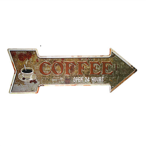 Coffee Open 24 Hours Arrow Sign