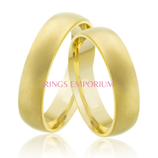 9kt Gold His and Hers Plain James Matte Wedding Bands