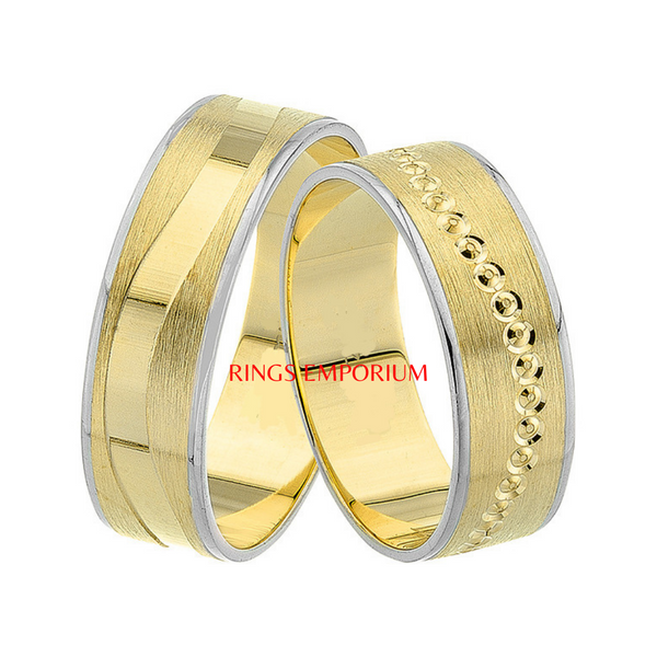 18kt Gold His and Hers Langley Wedding Band set