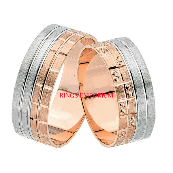 18kt Gold His and Hers Armani Wedding Band set