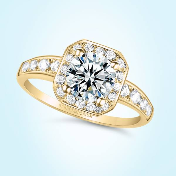 18kt Gold Cushion Cut Classic Halo Chardae Engagement Ring