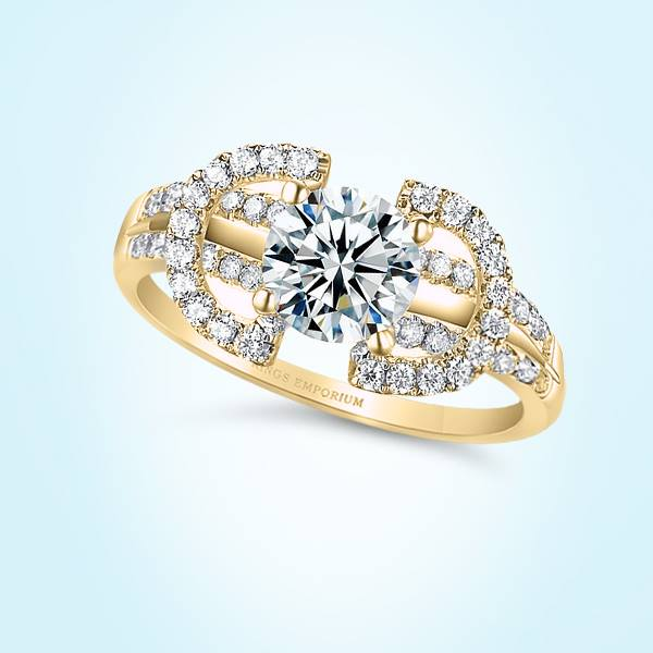 18kt Gold Round Cut Split Halves Amoury Engagement Ring