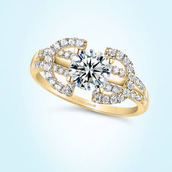 14kt Gold Round Cut Split Halves Amoury Engagement Ring