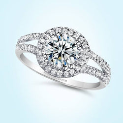 9kt Gold Round Cut Split Shank Predierre Engagement Ring