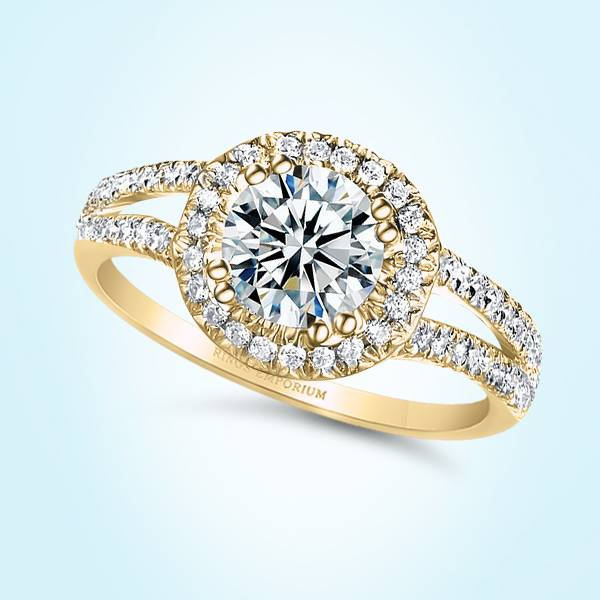 18kt Gold Round Cut Split Shank Predierre Engagement Ring