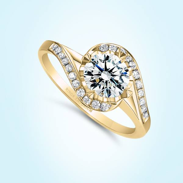 9kt Gold Swirl Rhianne Engagement Ring