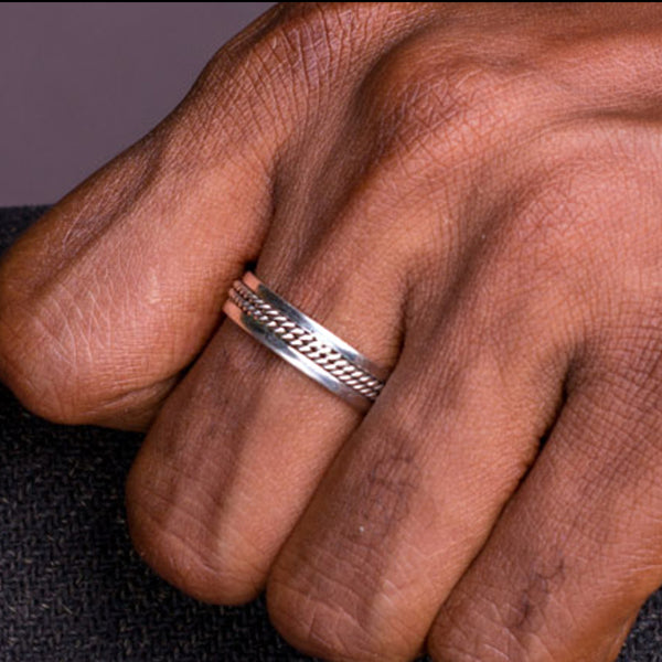 Sterling Silver Unisex Gaiter Wedding Band