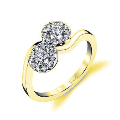 9kt Gold Eva Two Stone Engagement Rings
