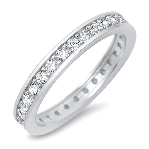 Sterling Silver Full Eternity Carina Unisex Wedding Band