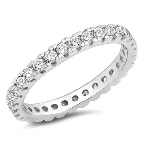 Sterling Silver Full Eternity Greda Unisex Wedding Band