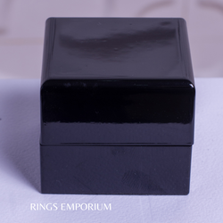 Chrome Black Piano Wooden Ring Box with Leather interior
