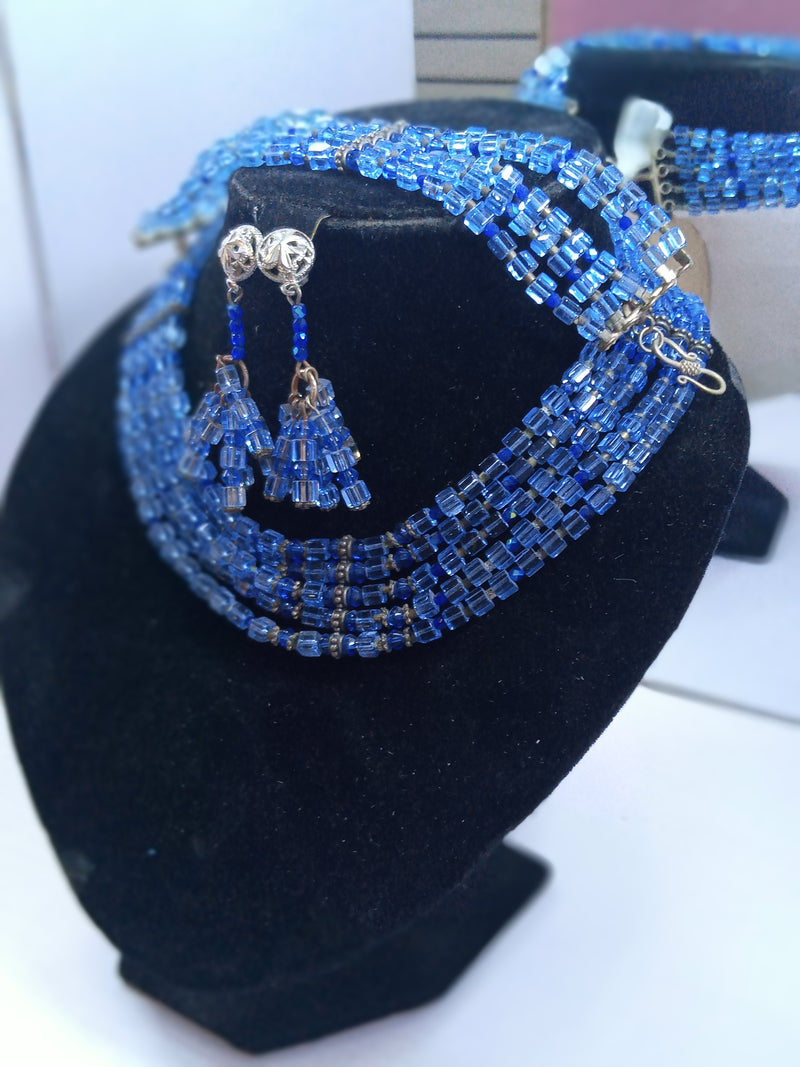 Blue Crystal Five Strand Choker Necklace Set