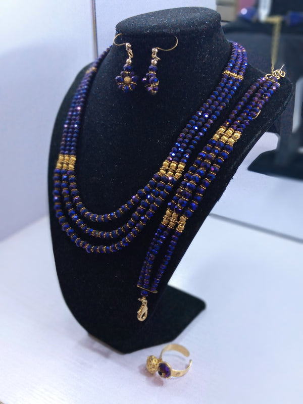 Purple Three Stands Necklace Set