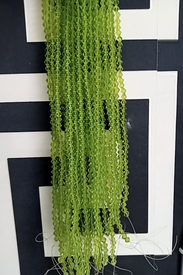 Lime Green Bicones Beads per strand