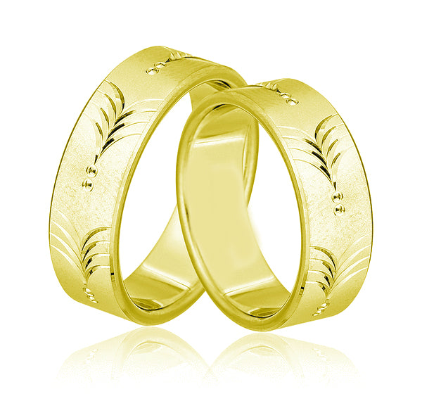 9kt Gold Flores Heavy Weight His and Hers Wedding Bands