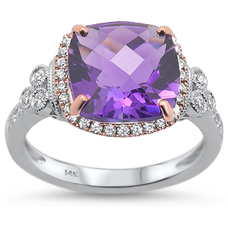 14kt White Gold Chada Amethyst and Diamond Engagement Ring