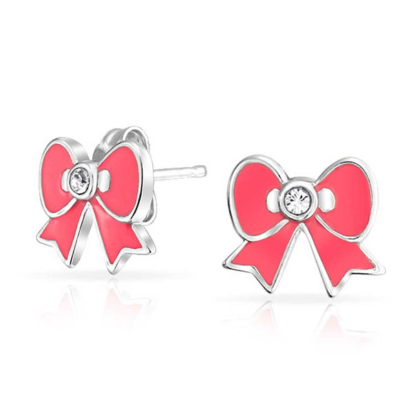 Baby jewelry Sterling Silver Pink Enamel Ribbon Bow Earrings