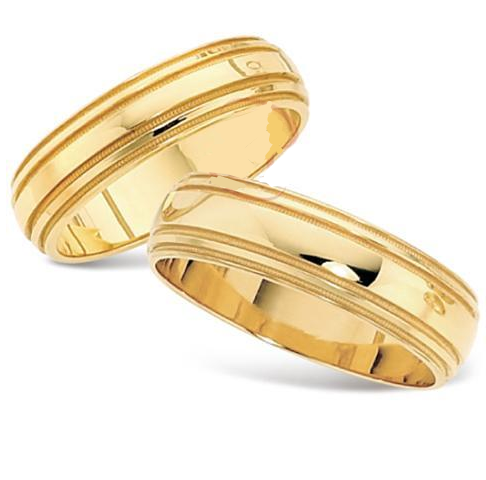 18kt Gold His and Hers Sergei Wedding Band set