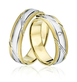 9kt Gold Two Tone Jorge Heavy Weight Unisex Wedding Bands
