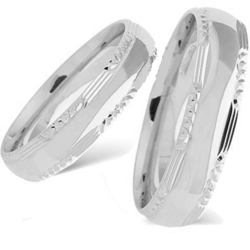 18kt Gold His and Hers Lancelot Wedding Band set