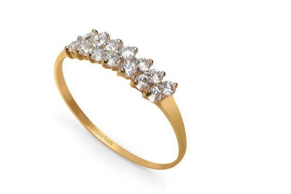 18kt Yellow Gold Silvana Half Eternity Engagement Ring