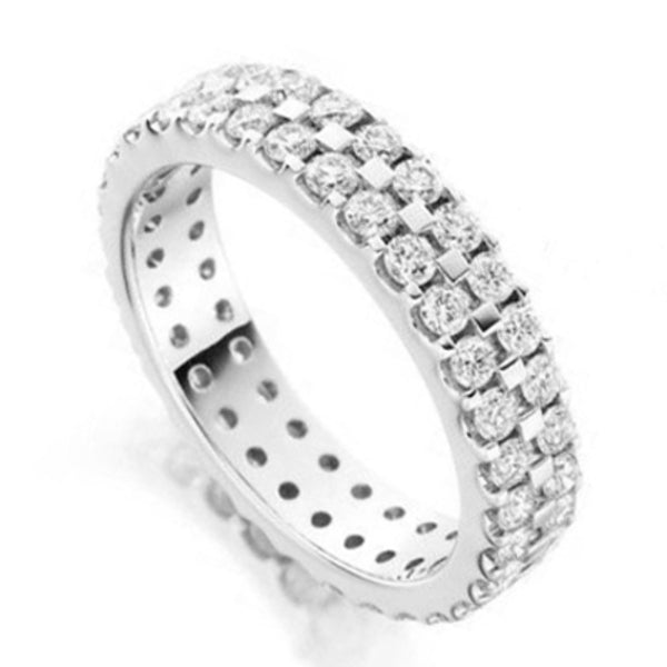 Palladium Double Pave Luis Unisex Full Eternity Wedding Band