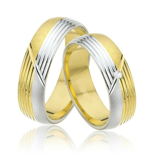 9kt Gold Two Tone Heavy Weight Felipe Unisex Wedding Band