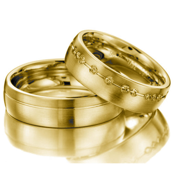 14kt Gold Havier His and Hers Wedding Bands