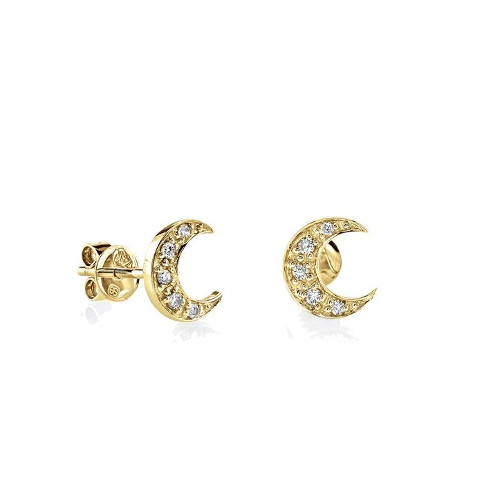 18kt Gold Moon Earrings for children with cz