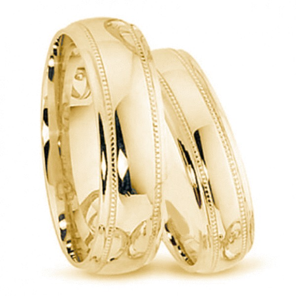 9kt Gold His and Hers Blais Wedding Band set