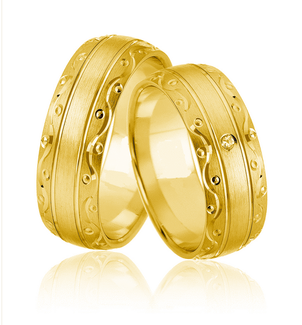 14kt Gold Richmond His and Hers Wedding Bands