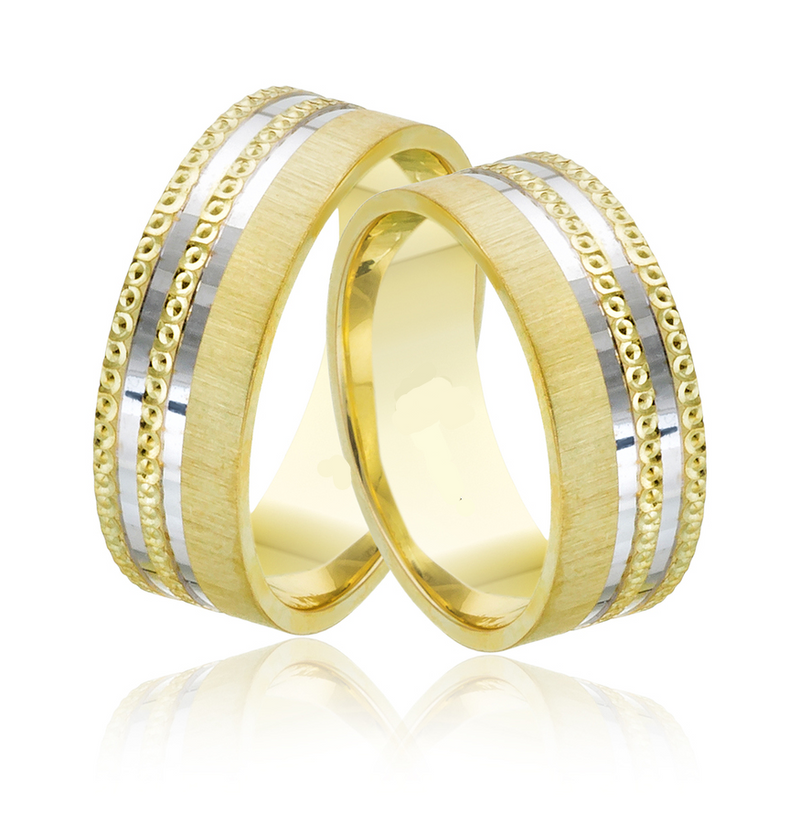 14kt Gold Adrian His and Hers Wedding Bands