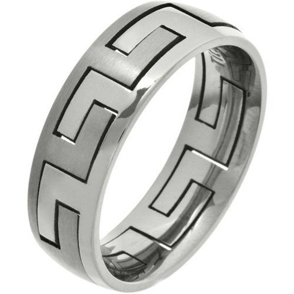 Titanium Unisex Greek Puzzle Ernesto Wedding Band