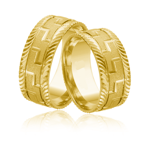 14kt Gold Artemis His and Hers Wedding Bands
