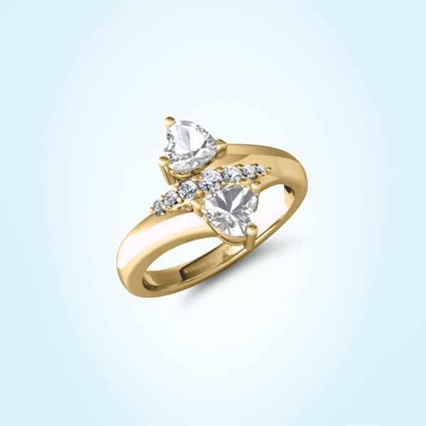 9kt Gold Jadia Two Stone Engagement Ring