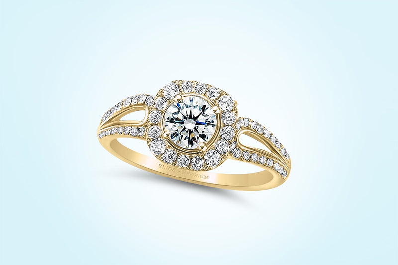9kt Gold Haraire Round Cut Split Shank Engagement Ring