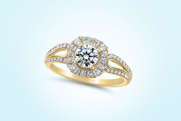 14kt Gold Round Cut Split Shank Haraire Engagement Ring