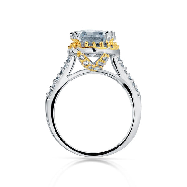 Rhodium and Gold Plated Oval Engagement Ring