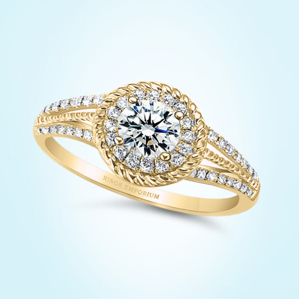 9kt Gold Etta Beaded Split Shank Engagement Ring