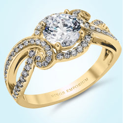 14kt gold Swirl Anika Engagement Ring