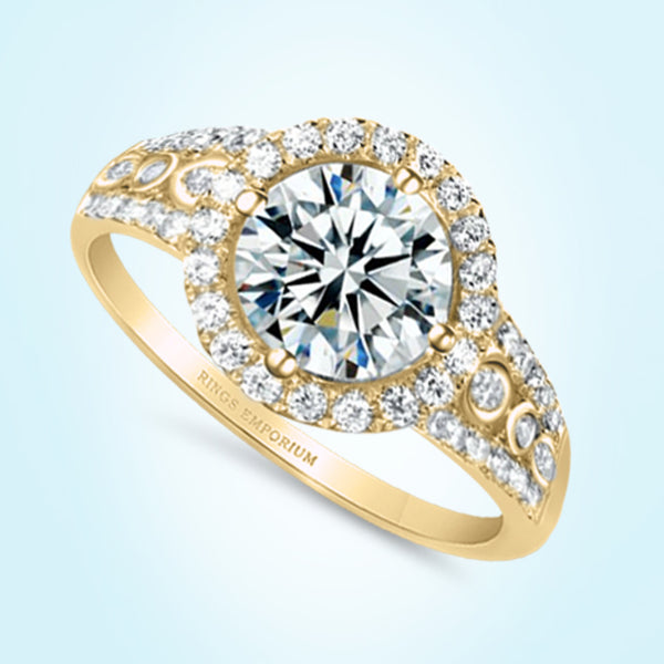18kt Gold Round Cut Prairie Engagement Ring