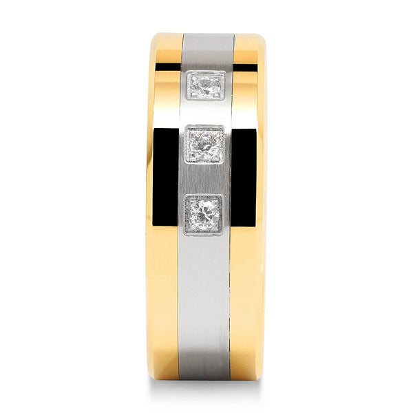 Titanium Two Tone Unisex CZ Clavis Wedding Band