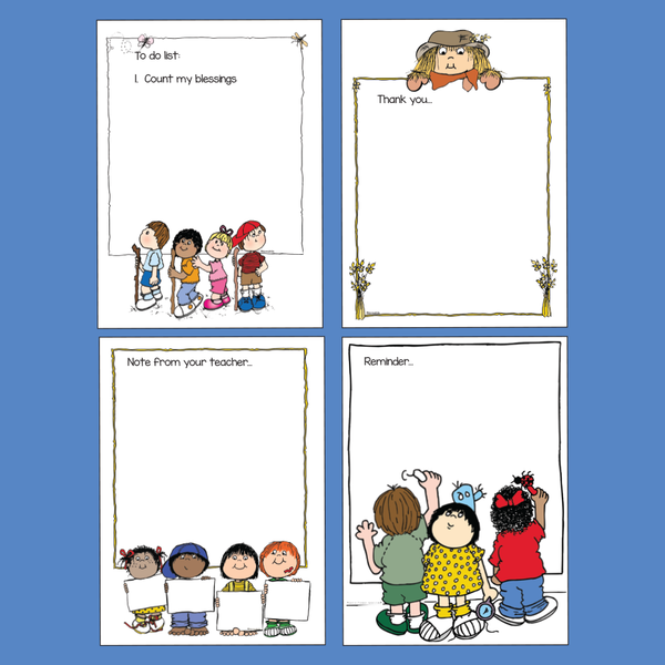 4 samples of notepads made with clipart.