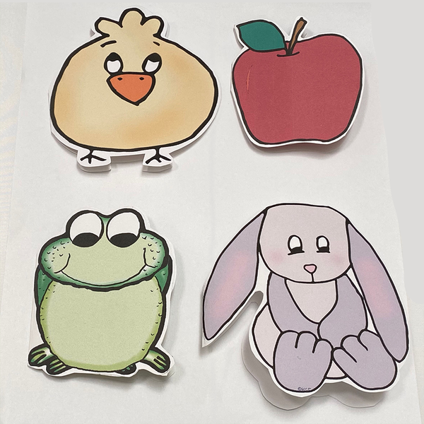 Samples of 4 colorful shape cards; chick, apple, frog, bunny.