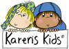 Karen's Kids logo; girl with untied boy and boy with blue hat.